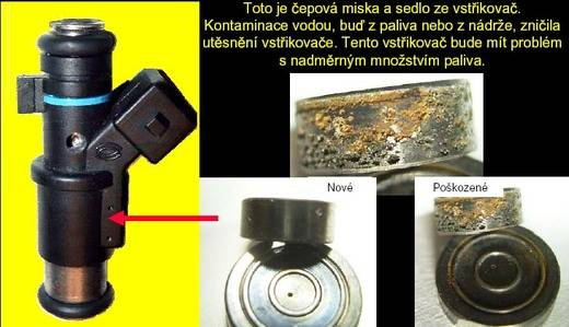 Ultrazvukové čištění není schopné odstranit vodu v palivovém systému